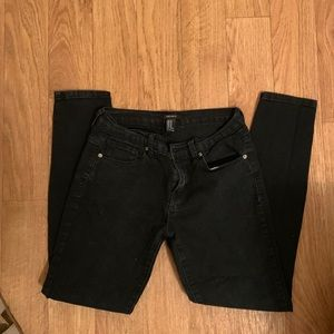 Black distressed washed jeans